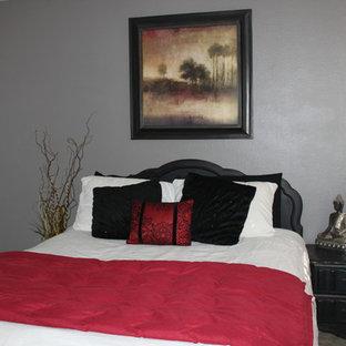 Imagen de habitación de invitados asiática, pequeña, sin chimenea, con paredes grises y moqueta