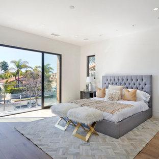 オレンジカウンティの中サイズのコンテンポラリースタイルのおしゃれな主寝室 (白い壁、淡色無垢フローリング、暖炉なし、ベージュの床、金属の暖炉まわり) のインテリア