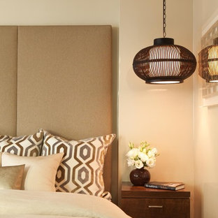 Trendy bedroom photo in Los Angeles with beige walls