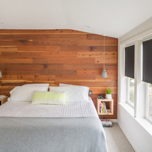 Photo of a small scandinavian master bedroom in Portland with carpet, no fireplace and brown walls.