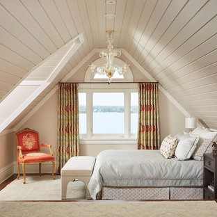 Inspiration for a large timeless master dark wood floor and brown floor bedroom remodel in Minneapolis with beige walls