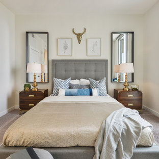 1960s carpeted and gray floor bedroom photo in Atlanta with white walls