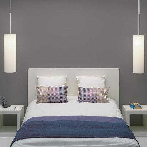 Camera da letto moderna con pareti grigie foto e idee - Foto camera da letto moderna ...