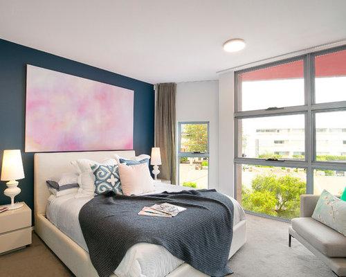 industrial bedroom furniture melbourne. inspiration for an industrial master bedroom in sydney with blue walls, carpet and beige floor furniture melbourne