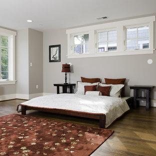 Idéer för ett asiatiskt sovrum, med grå väggar