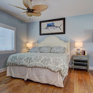 Design ideas for a mid-sized beach style loft-style bedroom in Tampa with blue walls, bamboo floors and no fireplace.
