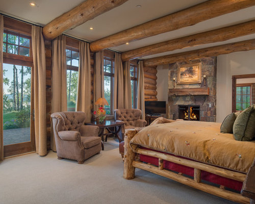 Inspiration for a rustic carpeted and beige floor bedroom remodel in Other  with white walls Log Cabin Design Ideas   Houzz. Log Home Design Ideas. Home Design Ideas