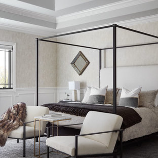 Inspiration for a transitional master carpeted and gray floor bedroom remodel in Chicago with beige walls