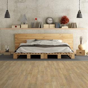 Modelo de dormitorio urbano con suelo vinílico
