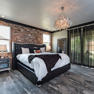 Bedroom - mid-sized industrial master dark wood floor and brown floor bedroom idea in Other with beige walls and no fireplace