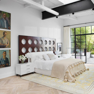 Example of a large eclectic master light wood floor and brown floor bedroom design in Other with white walls and a ribbon fireplace