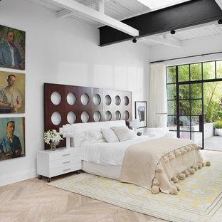 Ispirazione per una grande camera matrimoniale bohémian con pareti bianche, parquet chiaro, camino lineare Ribbon e pavimento marrone