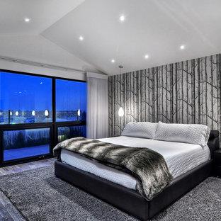 オレンジカウンティの中サイズのコンテンポラリースタイルのおしゃれな主寝室 (白い壁、淡色無垢フローリング、標準型暖炉、金属の暖炉まわり)