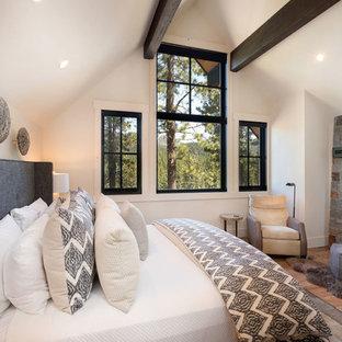 На фото: гостевая спальня среднего размера в стиле рустика с белыми стенами, паркетным полом среднего тона, печью-буржуйкой, фасадом камина из камня и коричневым полом с