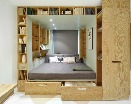 compact bedroom design. Example of a small trendy bedroom design in Moscow Our 50 Best Small Bedroom Ideas  Decoration Pictures Houzz