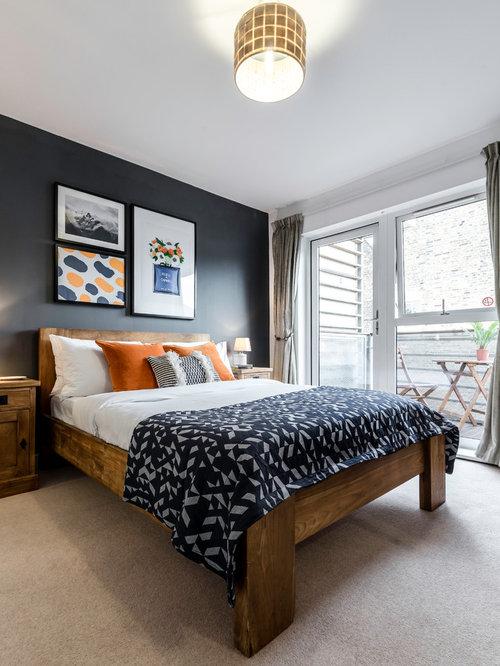 rustikale schlafzimmer mit schwarzer wandfarbe ideen design bilder houzz. Black Bedroom Furniture Sets. Home Design Ideas