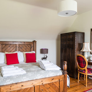 Design ideas for a medium sized rustic bedroom in Other with white walls, medium hardwood flooring and brown floors.