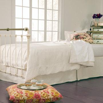 Iron & Brass Sleigh Daybed- Antique White