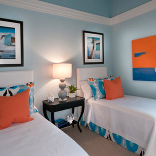 Bedroom - contemporary bedroom idea in Tampa with blue walls