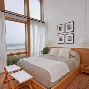 Example of a mid-sized coastal guest medium tone wood floor and brown floor bedroom design in New York with white walls and no fireplace