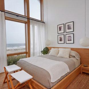 Imagen de habitación de invitados marinera, de tamaño medio, sin chimenea, con paredes blancas, suelo de madera en tonos medios y suelo marrón