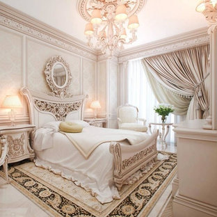 Bedroom - small traditional master marble floor bedroom idea in Atlanta with white walls and no fireplace