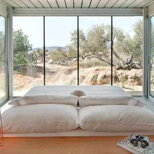 Example of a minimalist master bedroom design in Los Angeles