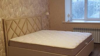 Изящная кровать с мягким изголовьем