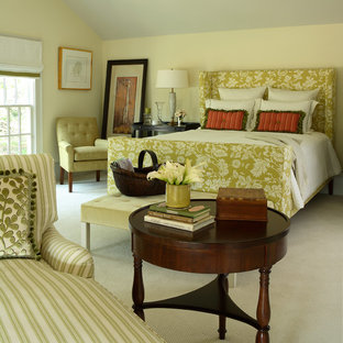 Elegant carpeted bedroom photo in Atlanta with beige walls and no fireplace