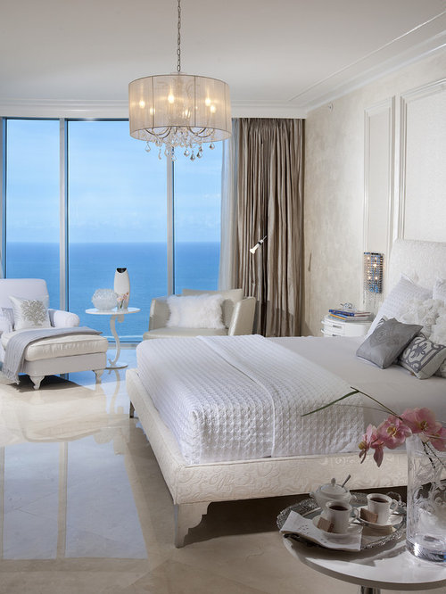 Inspiration For A Contemporary Marble Floor Bedroom Remodel In Miami With Beige Walls