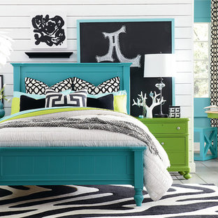 Eclectic bedroom photo in Other with white walls