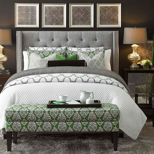 Inspiration for a contemporary master bedroom remodel in Other with gray walls