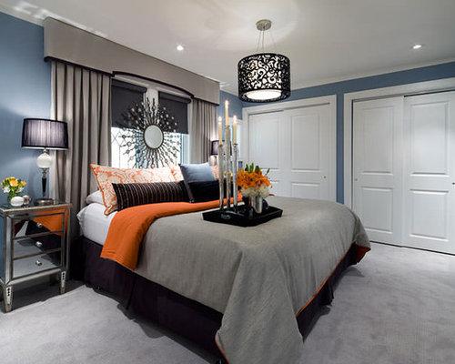 Jane Lockhart Blue Gray Orange Bedroom