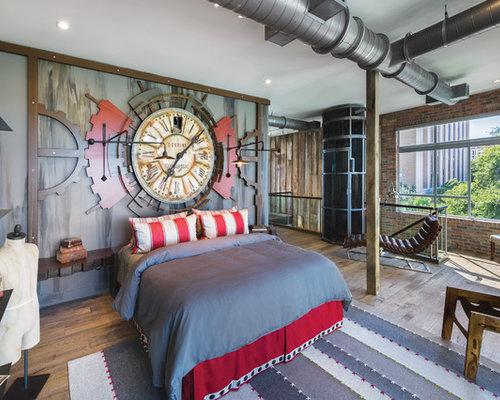 Camera da letto stile loft con pareti multicolore - Foto e Idee per ...