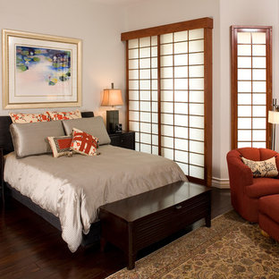 Inspiration for an asian bedroom remodel in Las Vegas with gray walls