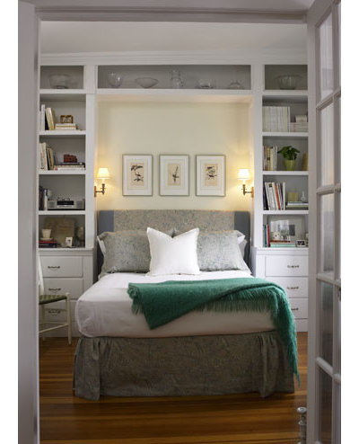 Traditional Bedroom by Jeanne Finnerty Interior Design. 7 Ways to Make a Small Bedroom Look Bigger and Work Better