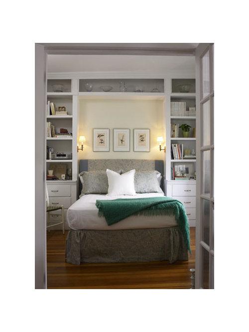 Elegant bedroom photo in Boston - Bookcases Around Bed Houzz