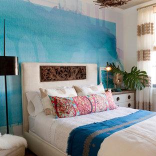 Bedroom - contemporary bedroom idea in New York with blue walls