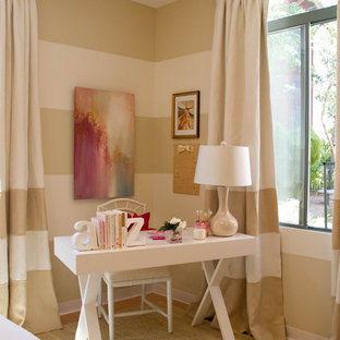 Inspiration for a traditional bedroom in Los Angeles with multi-coloured walls.