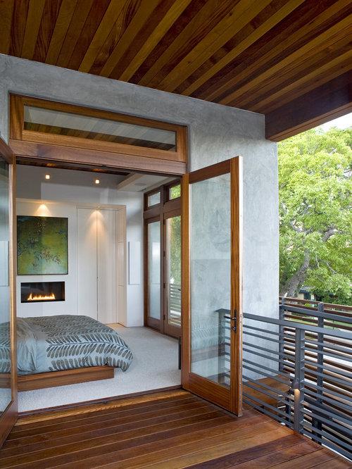 Camera da letto moderna con camino lineare ribbon foto e idee per arredare - Camera da letto con camino ...