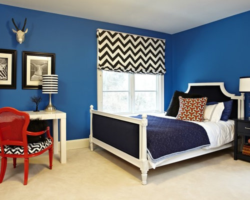 Inspiration For A Modern Bedroom Remodel In Los Angeles With Blue Walls And  Carpet Part 9