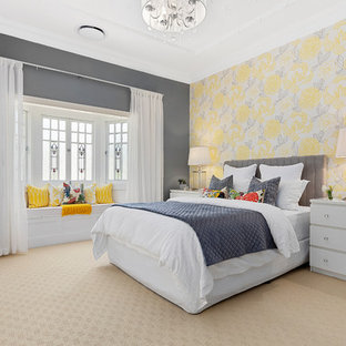 Design ideas for a transitional guest bedroom in Brisbane with grey walls, carpet, no fireplace and beige floor.