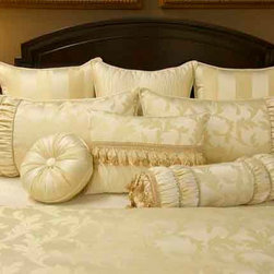 Bedding 2013 - Cream Damask patterens graced with Rushing and detaild with various trims and beading.
