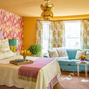 Bedroom - large transitional master dark wood floor bedroom idea in Boston with multicolored walls