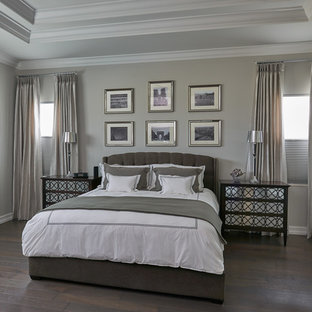 Bedroom - large transitional master dark wood floor bedroom idea in Miami with gray walls and no fireplace