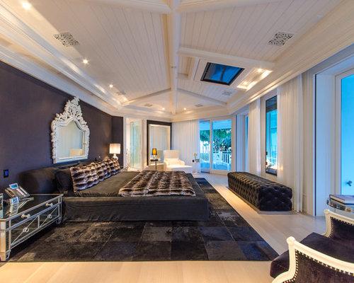 Chambre adulte de luxe avec un mur noir : Photos et idées déco de ...
