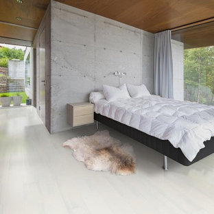 Photo of a mid-sized scandinavian loft-style bedroom in New York with white walls, light hardwood floors and white floor.