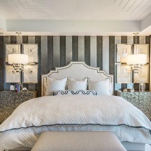 Bedroom - transitional medium tone wood floor and brown floor bedroom idea in Miami with multicolored walls