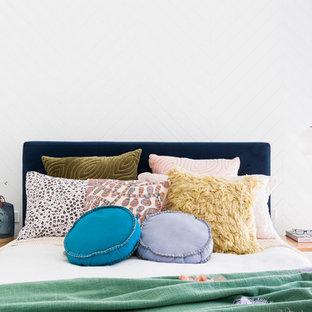 Inspiration för moderna sovrum, med vita väggar