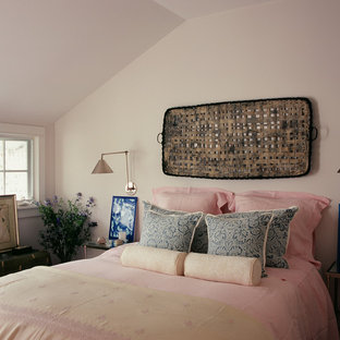 Shabby-chic style bedroom in Los Angeles with beige walls.